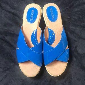 Merona Royal BLUE Sliders/WEDGES Mules Size 7.5